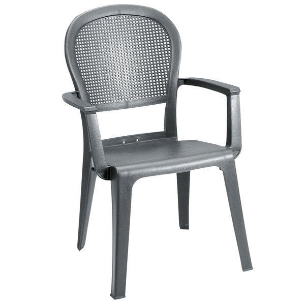 Grosfillex 46105002 / US105002 Seville Charcoal Highback Stacking Resin Armchair Main Image 1