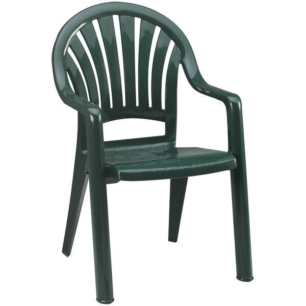 Grosfillex 49092078 / US092078 Pacific Amazon Green Fanback Stacking Resin Armchair Main Image 1