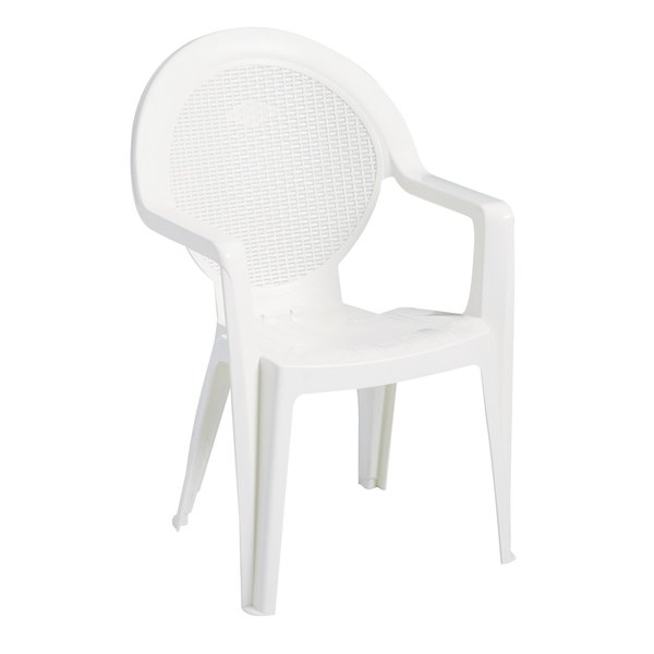 Grosfillex US421004 / 99421004 Trinidad White Stacking Resin Armchair