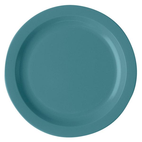"Cambro 10CWNR401 Camwear 10"" Slate Blue Polycarbonate Narrow Rim Plate - 48/Case"