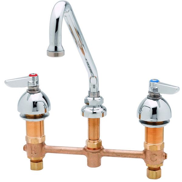 "T&S B-2855-WS Deck Mount WaterSense Easy Install 1.5 GPM Faucet with 8"" Centers, 9"" Swing Nozzle, and Eterna Cartridges"