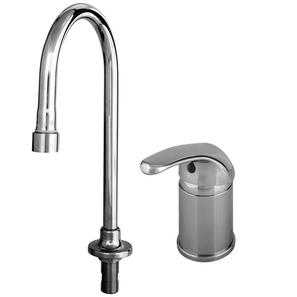 """T&S B-2742-LH Vandal Resistant Side Mount Faucet with Supply Hoses, 11"""" Gooseneck, and Remote Control Base"""