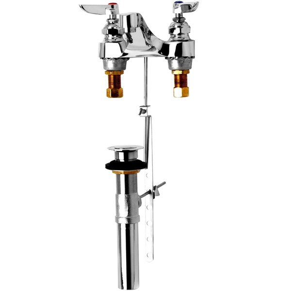 "T&S B-2488 Deck Mount Mixing Faucet with 6"" - 24"" Adjustable Centers, 4 Arm Handles, and Pop Up Drain Assembly"