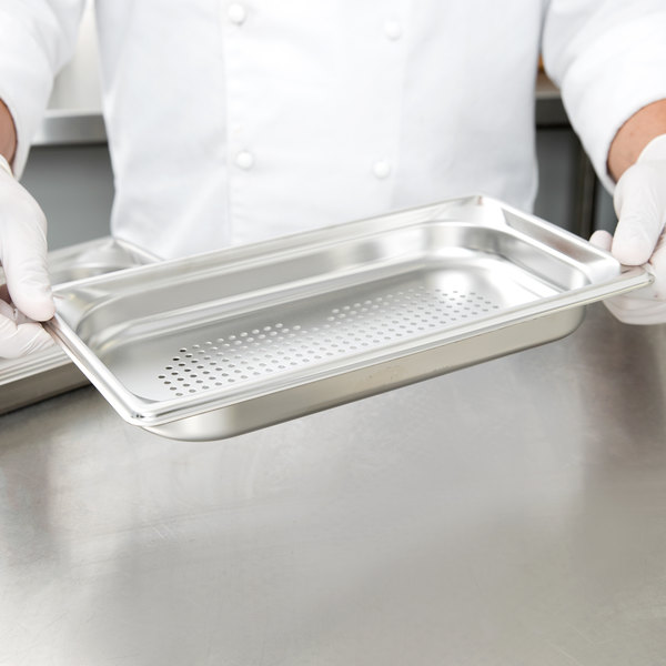 "Vollrath 90313 Super Pan 3® 1/3 Size Anti-Jam Stainless Steel Perforated Steam Table / Hotel Pan - 1 1/2"" Deep"