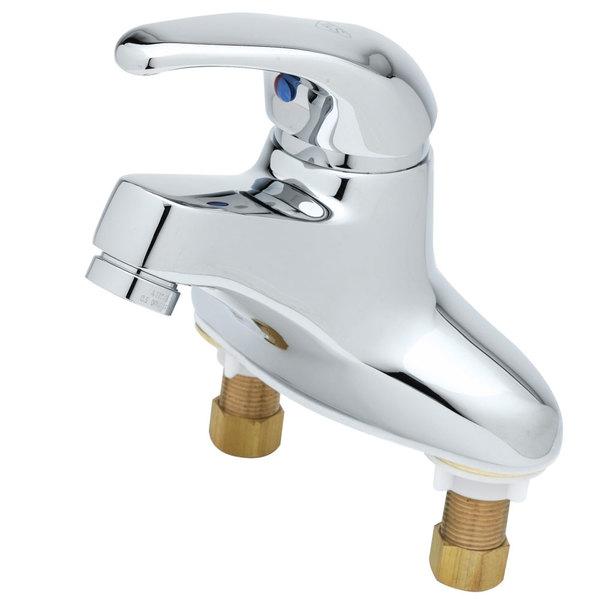 "T&S B-2711-VF22 Vandal Resistant Deck Mount Centerset Single Lever Faucet with 4"" Centers, Temperature Limit Adjustment, and Cerama Cartridges"