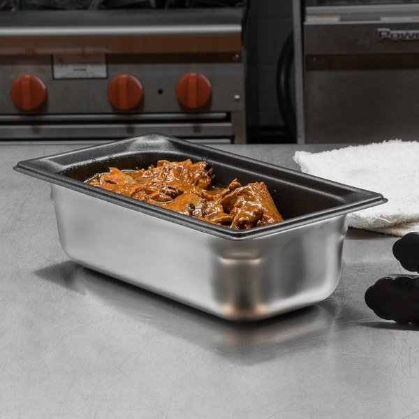 """Vollrath 90347 Super Pan 3® 1/3 Size Anti-Jam Stainless Steel SteelCoat x3 Non-Stick Steam Table / Hotel Pan - 4"""" Deep"""
