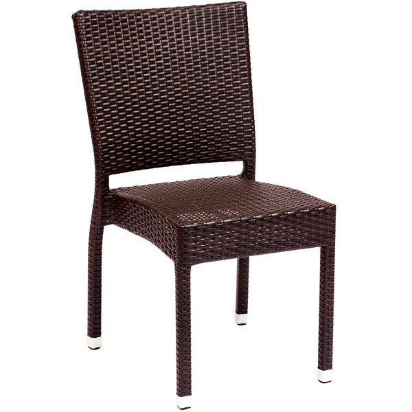 BFM Seating PH500CJV Monterey Outdoor / Indoor Stackable Java Synthetic Wicker  Side Chair