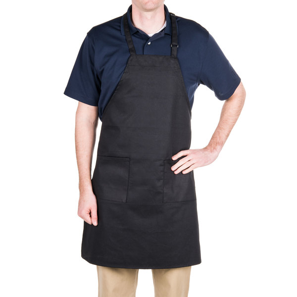 """Choice Black Full Length Bib Apron with Adjustable Neck with Pockets - 32""""L x 30""""W"""