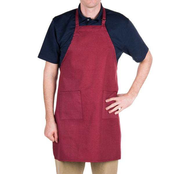 Choice Burgundy Full Length Bib Apron with Adjustable Neck with Pockets - 32 inchL x 28 inchW