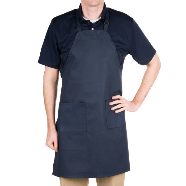 "Choice Navy Full Length Bib Apron with Adjustable Neck with Pockets- 32""L x 30""W"