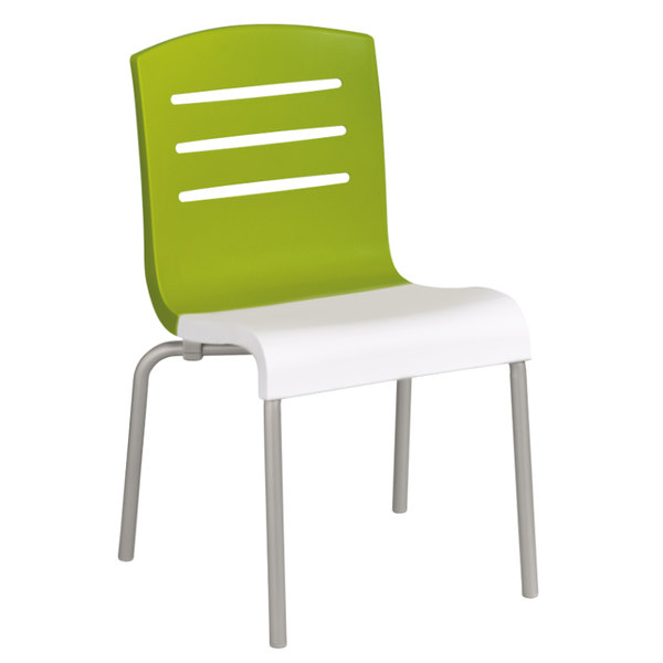 Grosfillex US041152 Domino Indoor Stacking Resin Chair With Fern Green Back  And White Seat   4/Pack