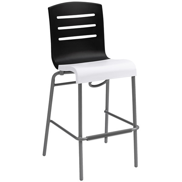 Case of 8 Grosfillex US510017 / US051017 Domino Black / White Indoor Stacking Resin Barstool