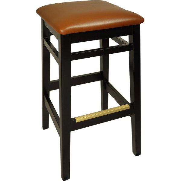 "BFM Seating LWB680BLLBV Trevor Black Wood Barstool with 2"" Light Brown Vinyl Seat"