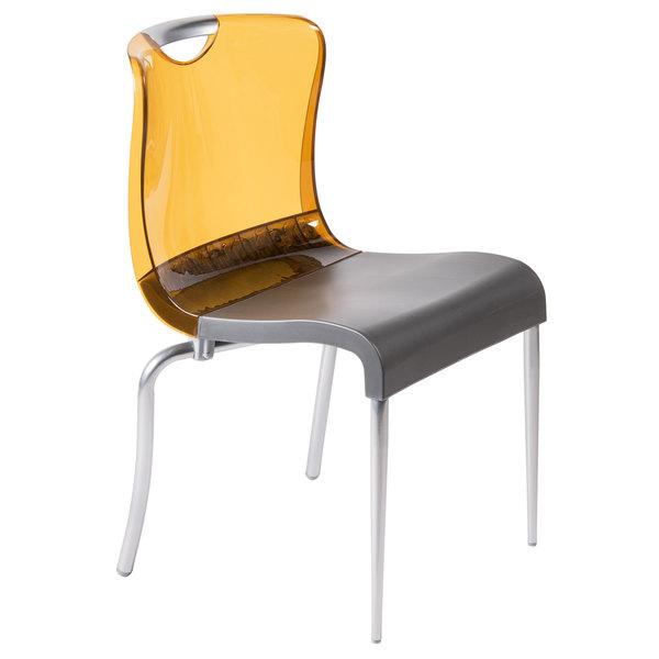 Pleasing Grosfillex Us228447 Krystal Amber Resin Indoor Stacking Chair 4 Pack Dailytribune Chair Design For Home Dailytribuneorg