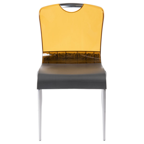 Admirable Grosfillex Us228447 Krystal Amber Resin Indoor Stacking Chair 4 Pack Dailytribune Chair Design For Home Dailytribuneorg