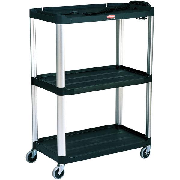 "Rubbermaid FG9T3300BLA Black MediaMaster 36"" Open AV Cart with Three Shelves and 4"" Casters"