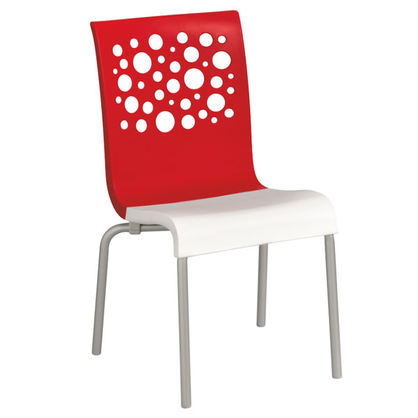 Grosfillex US835414 Tempo Indoor Stacking Resin Chair with Red Back and White Seat - 4/Pack
