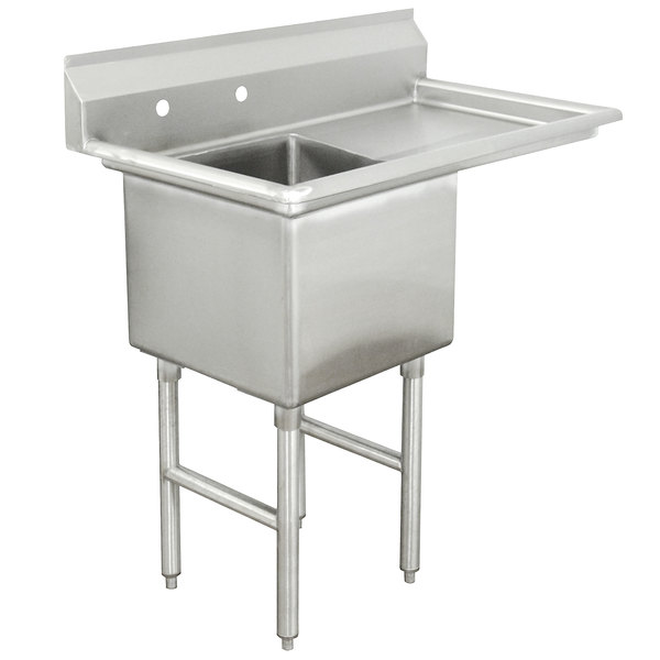 Right Drainboard Advance Tabco FC-1-1818-18 One Compartment Stainless Steel Commercial Sink with One Drainboard - 38 1/2""