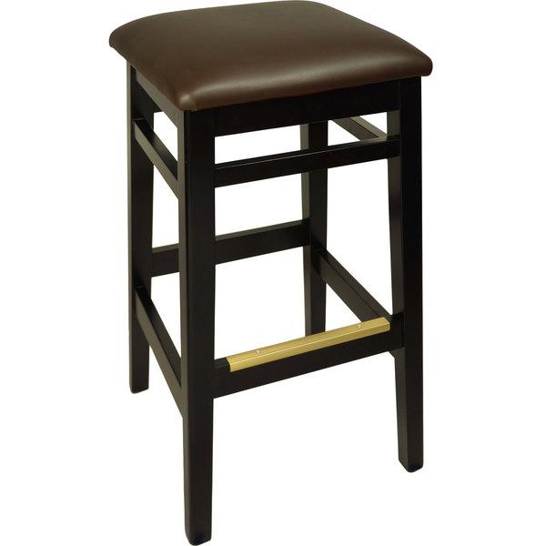 "BFM Seating LWB680BLDBV Trevor Black Wood Barstool with 2"" Dark Brown Vinyl Seat"