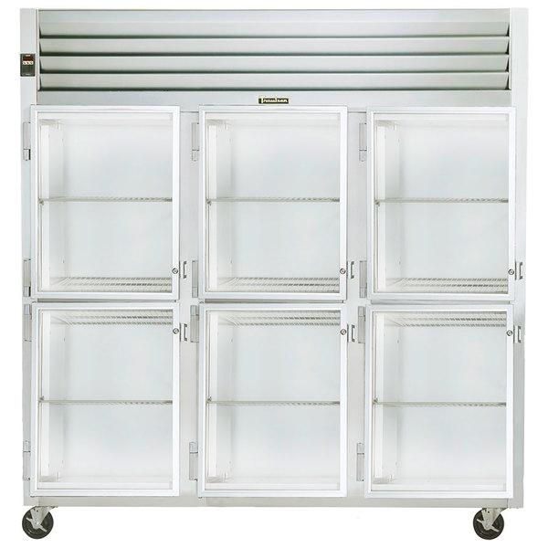 Traulsen G32003 3 Section Glass Half Door Reach In Refrigerator - Left Hinged Doors
