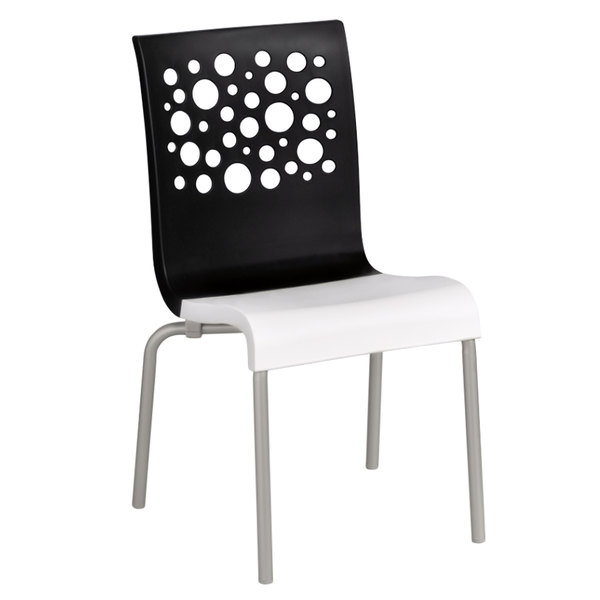 Ordinaire Grosfillex US835017 Tempo Stacking Resin Chair With Black Back And White  Seat   4/Pack
