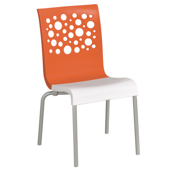 Grosfillex US835019 Tempo Indoor Stacking Resin Chair with Orange Back and White Seat - 4/Pack