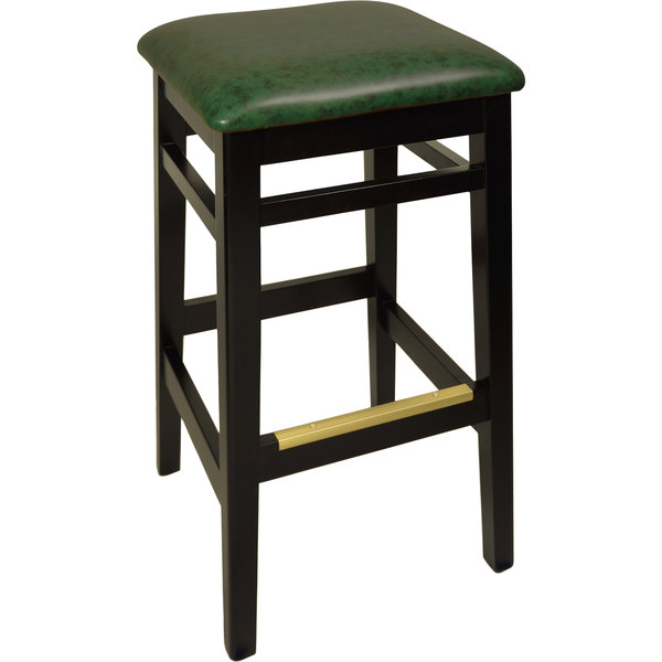 "BFM Seating LWB680BLGNV Trevor Black Wood Barstool with 2"" Green Vinyl Seat"
