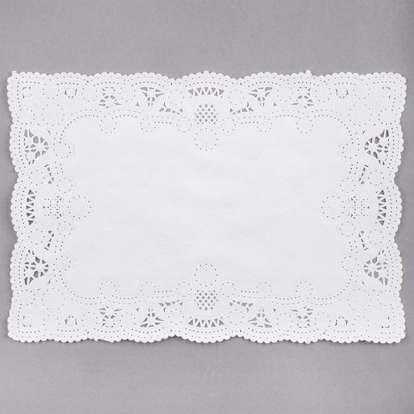Hoffmaster 310711 10 inch x 14 inch White Normandy Lace Paper Placemat with Scalloped Edge  - 1000/Case