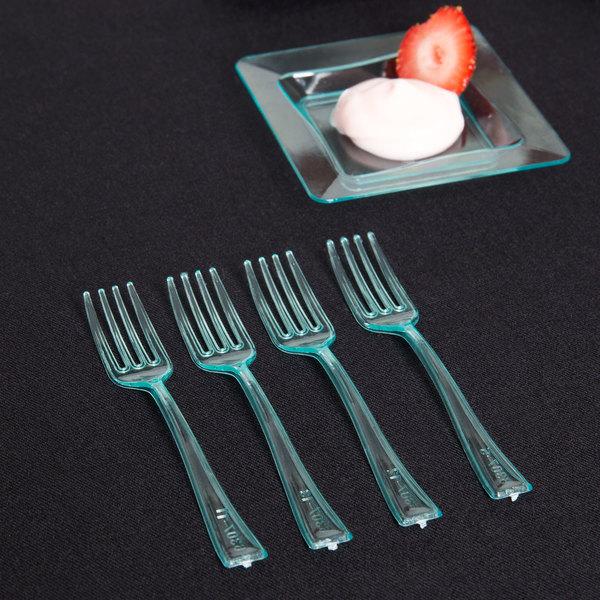 "Fineline Tiny Temptations 6500-GRN 3 7/8"" Tiny Tines Green Plastic Tasting Fork - 48/Pack Main Image 4"