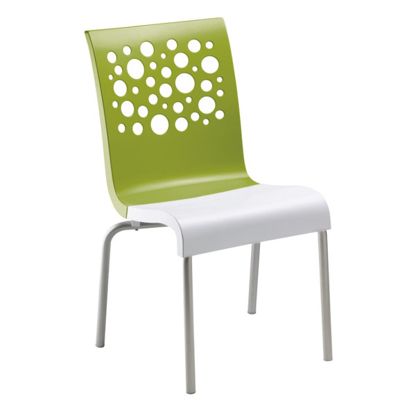 Grosfillex US835152 Tempo Stacking Resin Chair with Fern Green Back and White Seat - 4/Pack