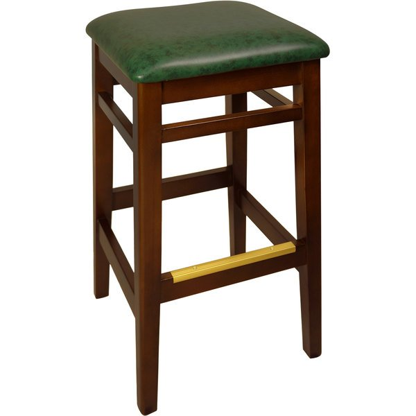 "BFM Seating LWB680MHGNV Trevor Mahogany Wood Barstool with 2"" Green Vinyl Seat Main Image 1"