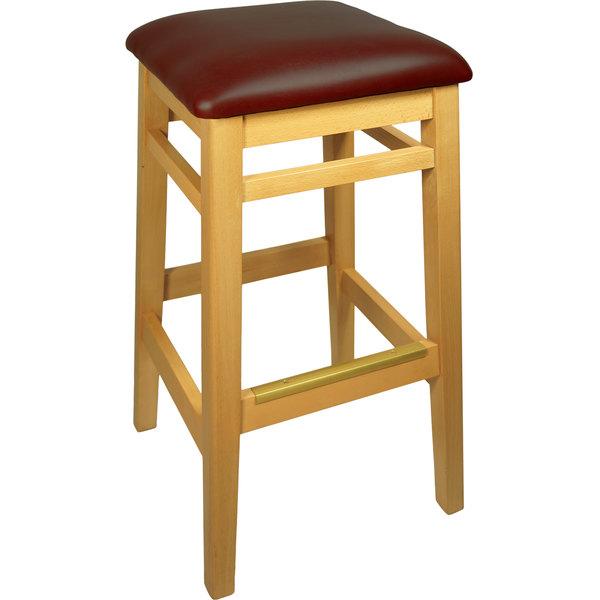 "BFM Seating LWB680NTBUV Trevor Natural Wood Barstool with 2"" Burgundy Vinyl Seat"