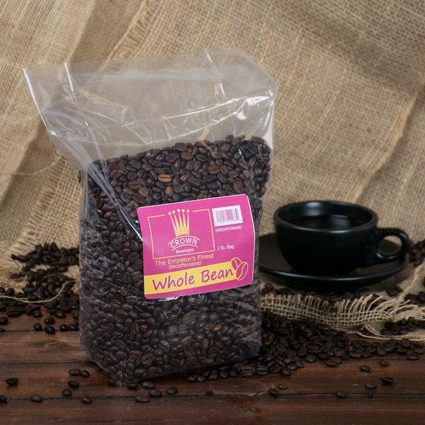 Crown Beverages Emperor's Finest Whole Bean Decaf Coffee 2 lb. Bag - 5/Case