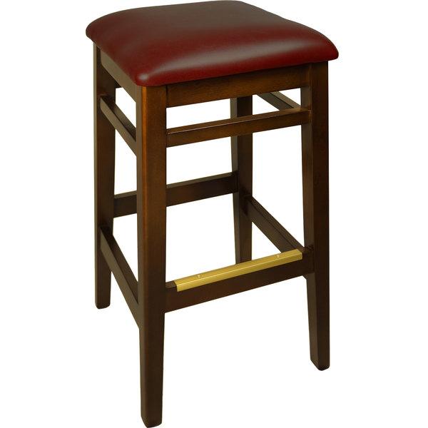 "BFM Seating LWB680WABUV Trevor Walnut Wood Barstool with 2"" Burgundy Vinyl Seat"
