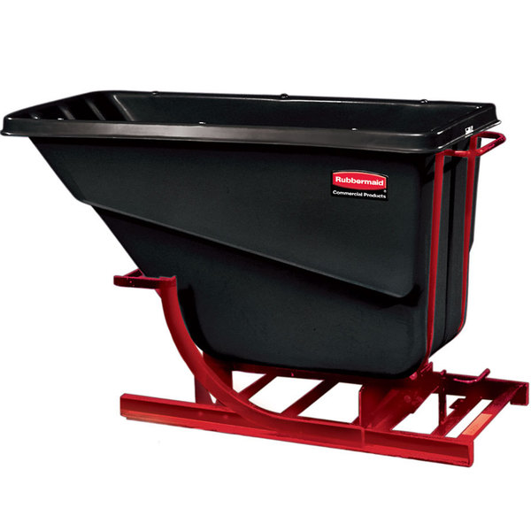 Rubbermaid FG105400BLA Black 0.5 Cubic Yard Self Dumping Hopper (750 lb.)
