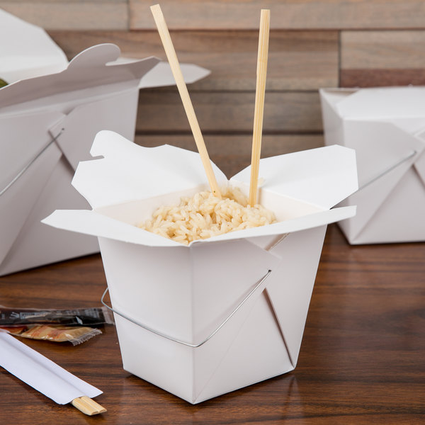 Fold-Pak 32WHWHITEM 32 oz. White Chinese / Asian Paper Take-Out Container with Wire Handle - 100/Pack