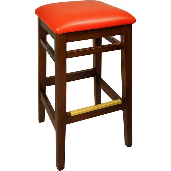 "BFM Seating LWB680MHRDV Trevor Mahogany Wood Barstool with 2"" Red Vinyl Seat Main Image 1"