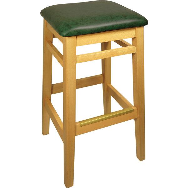 "BFM Seating LWB680NTGNV Trevor Natural Wood Barstool with 2"" Green Vinyl Seat"