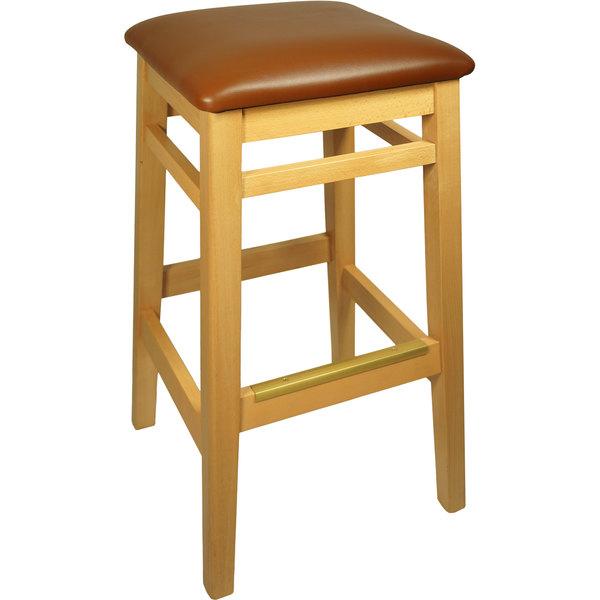 "BFM Seating LWB680NTLBV Trevor Natural Wood Barstool with 2"" Light Brown Vinyl Seat"