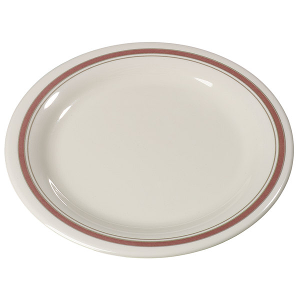 "Carlisle 43005906 Mosaic Durus 9"" Parisian on Bone Narrow Rim Melamine Plate - 24/Case"