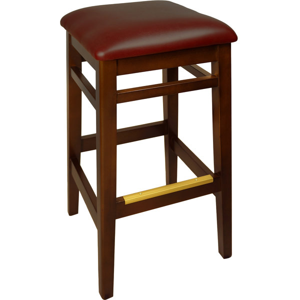 "BFM Seating LWB680MHBUV Trevor Mahogany Wood Barstool with 2"" Burgundy Vinyl Seat"