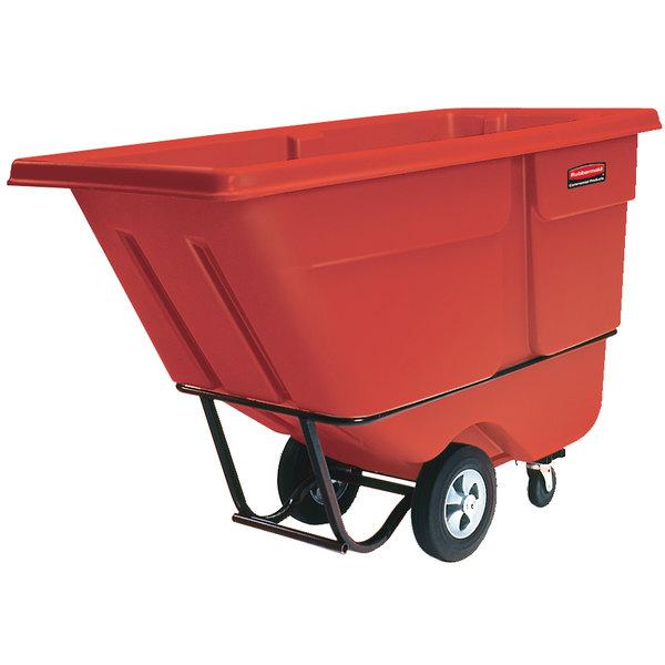 Rubbermaid FG130500RED Red 0.5 Cubic Yard Tilt Truck (850 lb.)