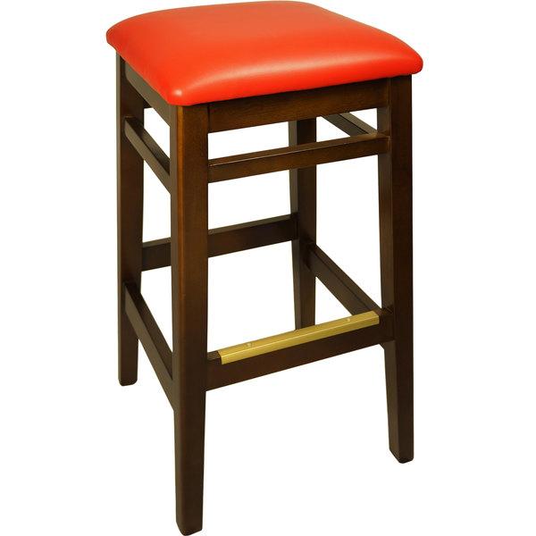 "BFM Seating LWB680WARDV Trevor Walnut Wood Barstool with 2"" Red Vinyl Seat"