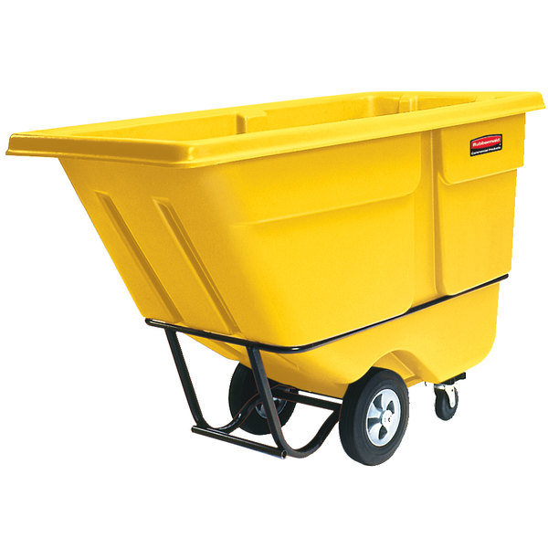 Rubbermaid FG130500YEL Yellow 0.5 Cubic Yard Tilt Truck (850 lb.)