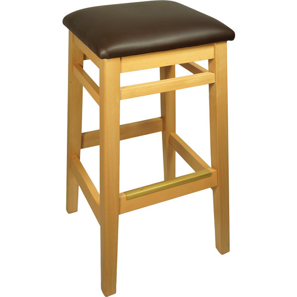 "BFM Seating LWB680NTDBV Trevor Natural Wood Barstool with 2"" Dark Brown Vinyl Seat"