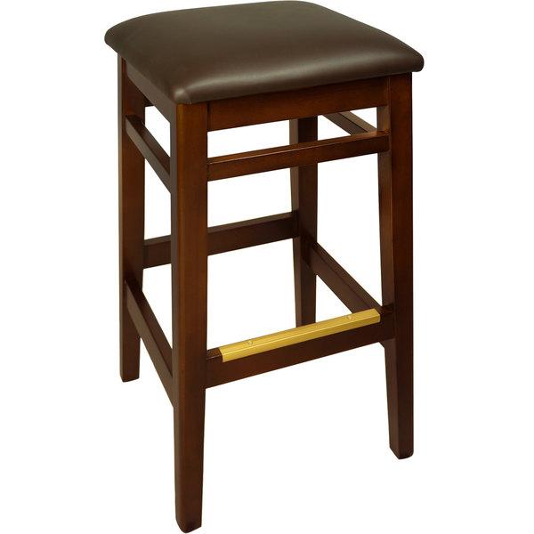 "BFM Seating LWB680MHDBV Trevor Mahogany Wood Barstool with 2"" Dark Brown Vinyl Seat"