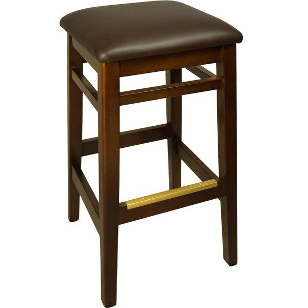 "BFM Seating LWB680WADBV Trevor Walnut Wood Barstool with 2"" Dark Brown Vinyl Seat"