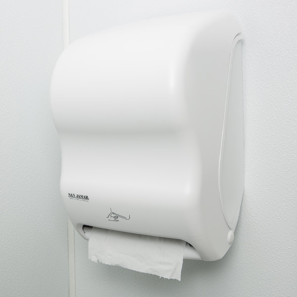 San Jamar T1400WH Smart System Classic Hands Free Roll Towel Dispenser - White