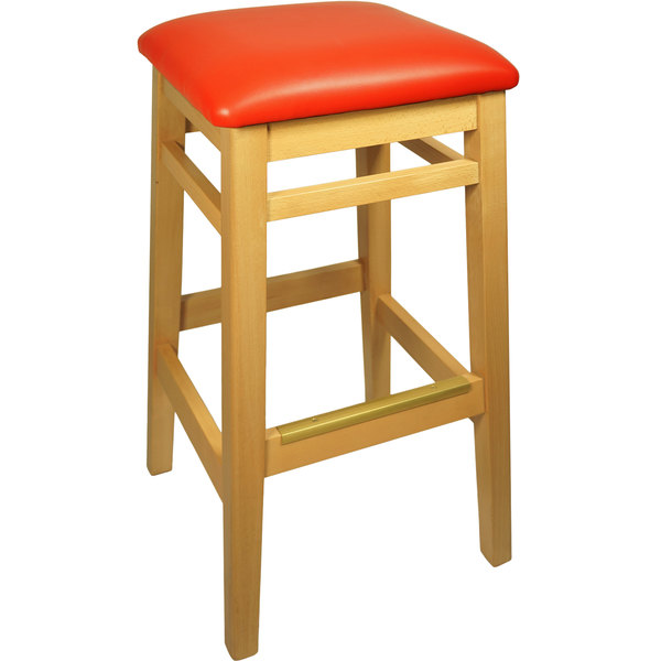 "BFM Seating LWB680NTRDV Trevor Natural Wood Barstool with 2"" Red Vinyl Seat"