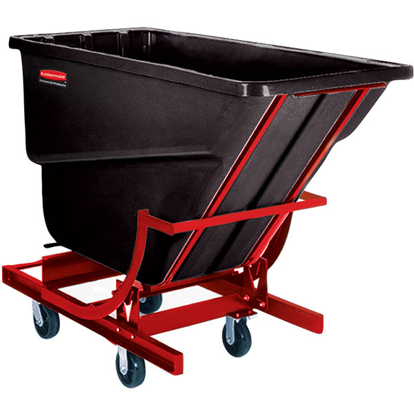"Rubbermaid FG105943BLA Black 1.0 Cubic Yard Self Dumping Hopper with 6"" Casters (1000 lb.)"